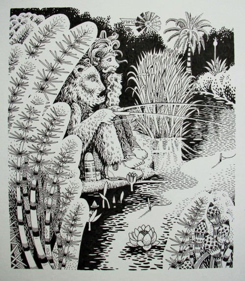 The Perfect Fishing Spot. Pen and Ink Illustration from Ramshackle Blooms.